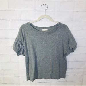 Madewell T Shirt Ruffle Sleeves